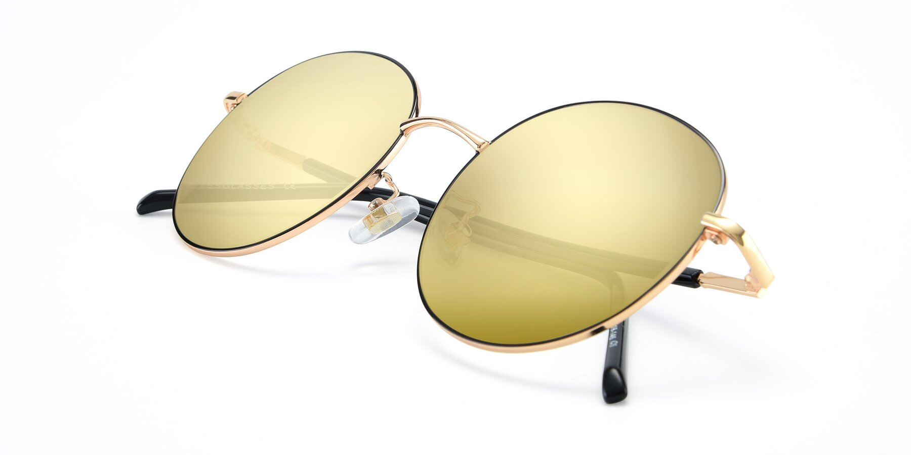 View of 9861 in Black-Gold with Gold Mirrored Lenses