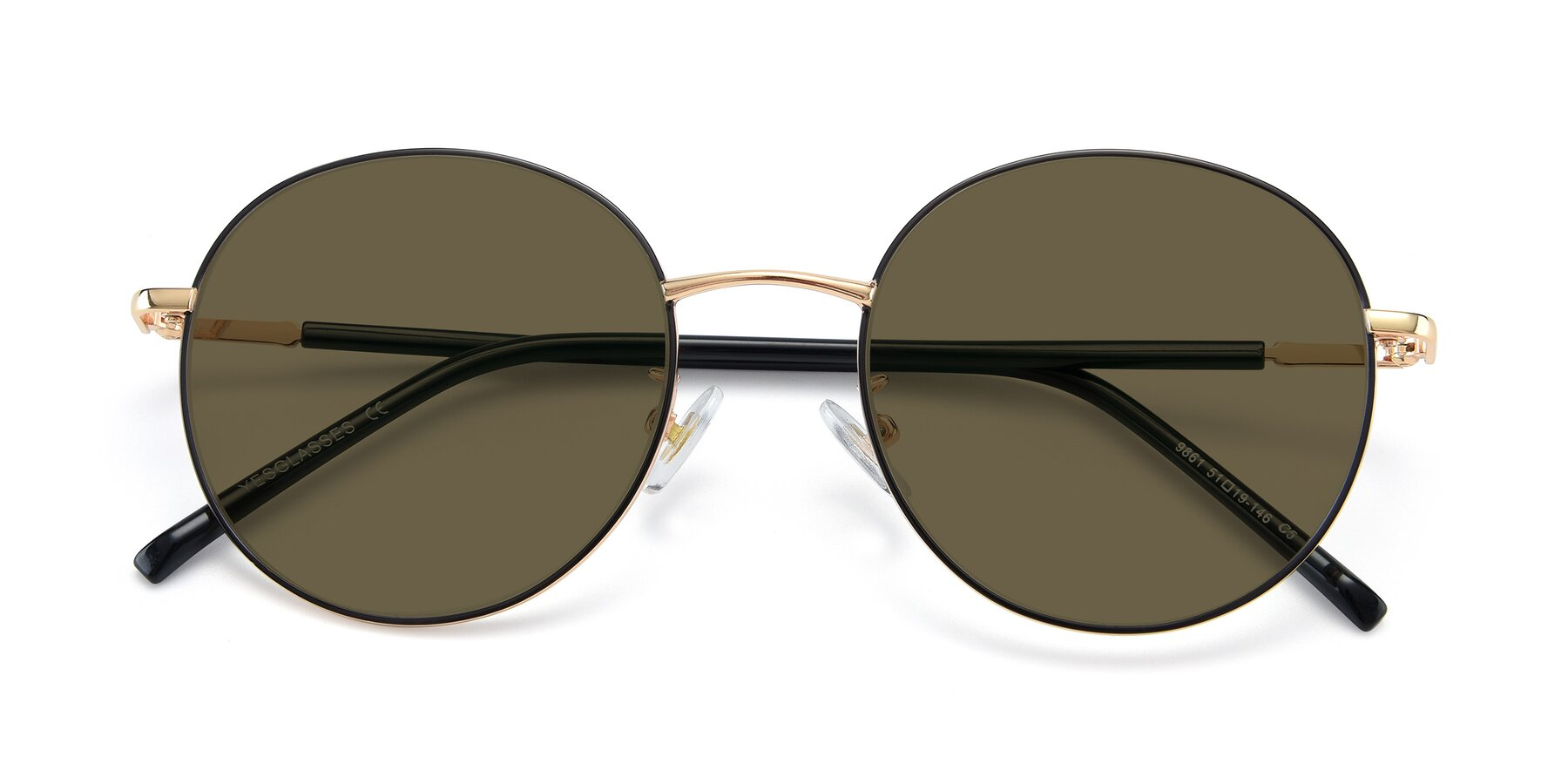 Folded Front of 9861 in Black-Gold with Brown Polarized Lenses