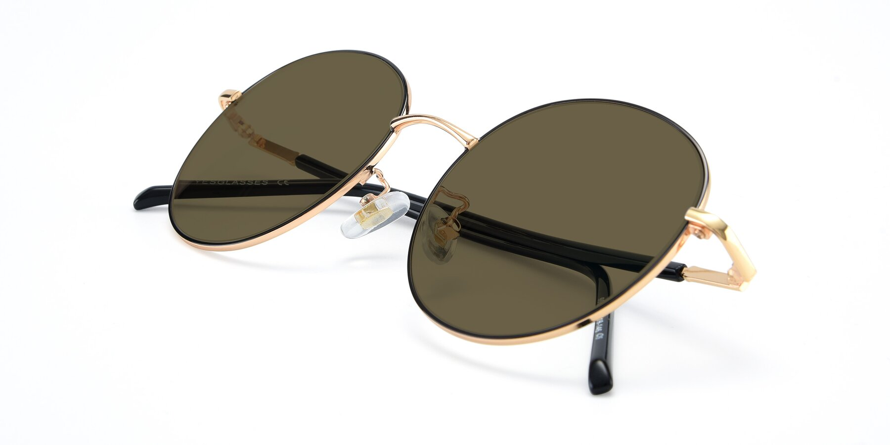 View of 9861 in Black-Gold with Brown Polarized Lenses