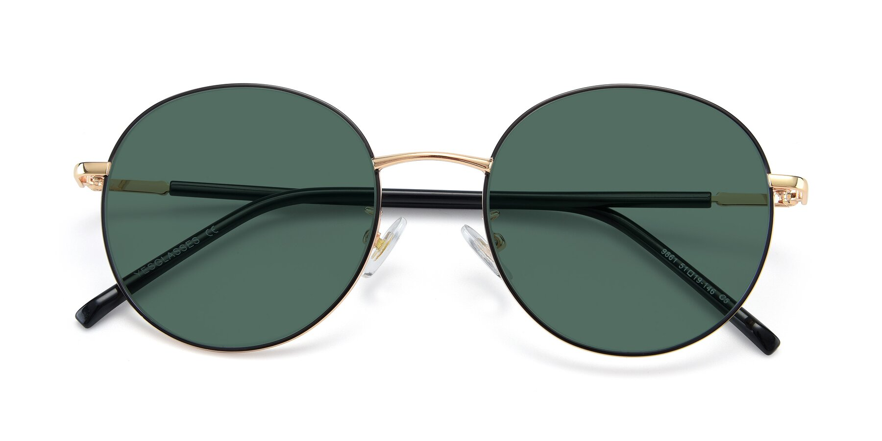 Folded Front of 9861 in Black-Gold with Green Polarized Lenses
