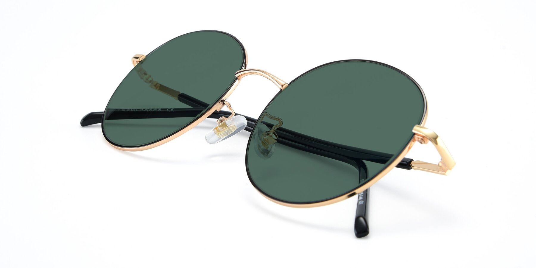 View of 9861 in Black-Gold with Green Polarized Lenses