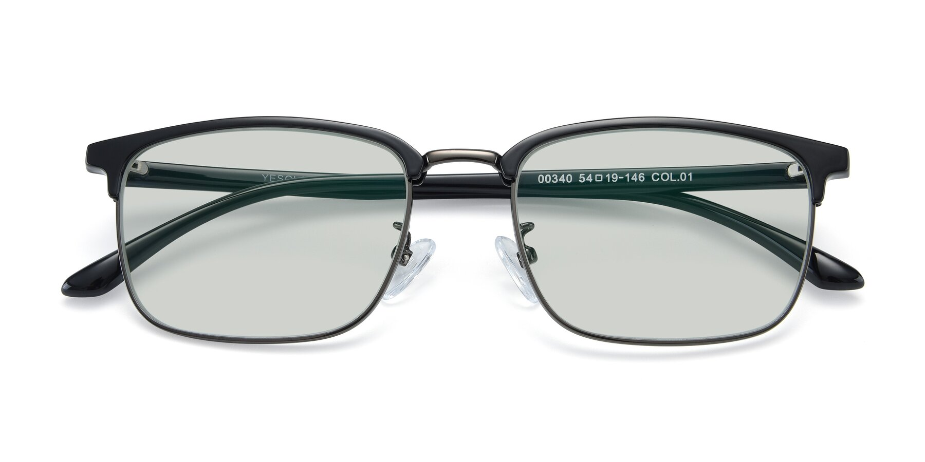 Folded Front of 00340 in Black-Gun with Light Green Tinted Lenses