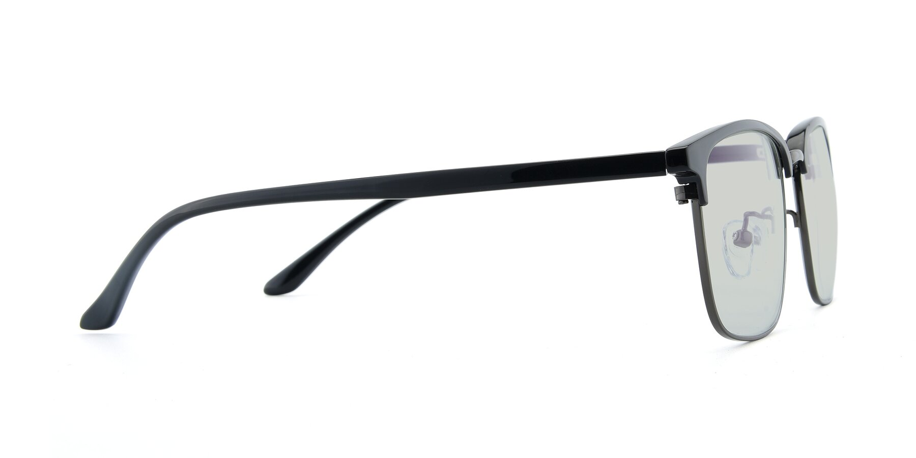 Side of 00340 in Black-Gun with Light Green Tinted Lenses