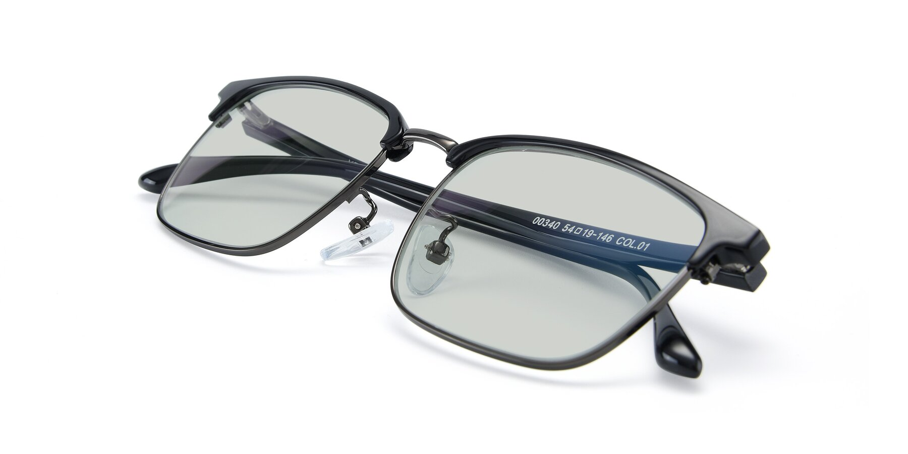 View of 00340 in Black-Gun with Light Green Tinted Lenses