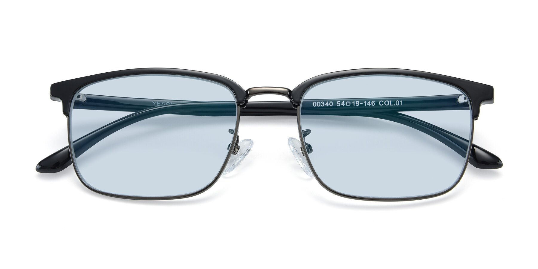 Folded Front of 00340 in Black-Gun with Light Blue Tinted Lenses