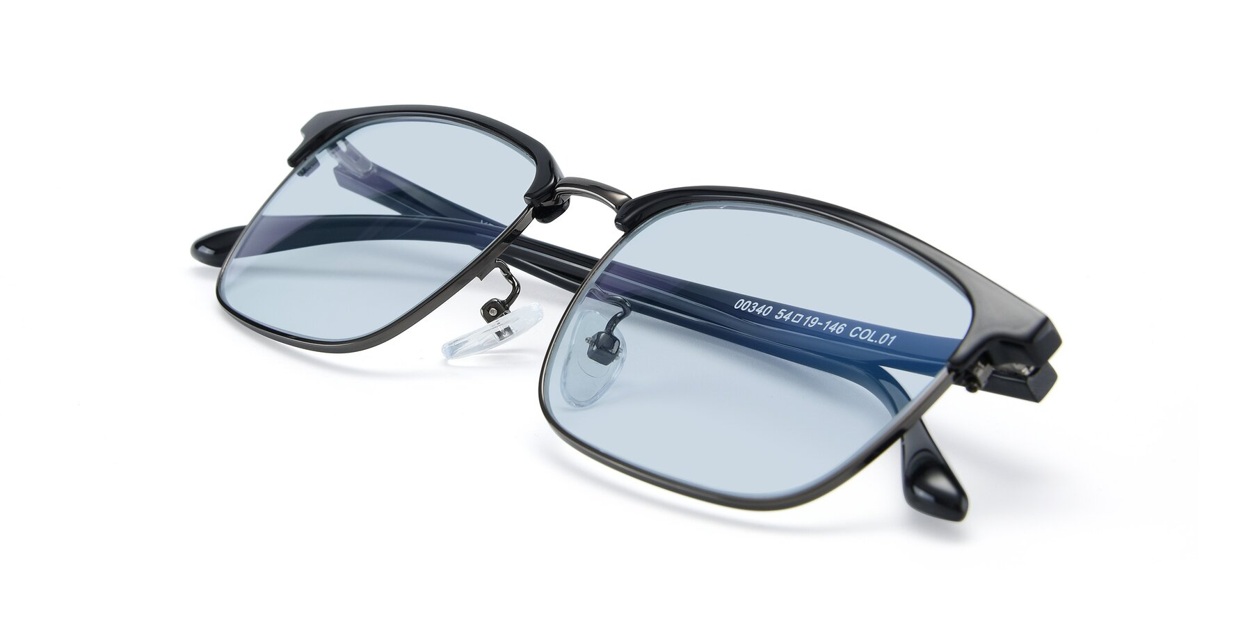 View of 00340 in Black-Gun with Light Blue Tinted Lenses