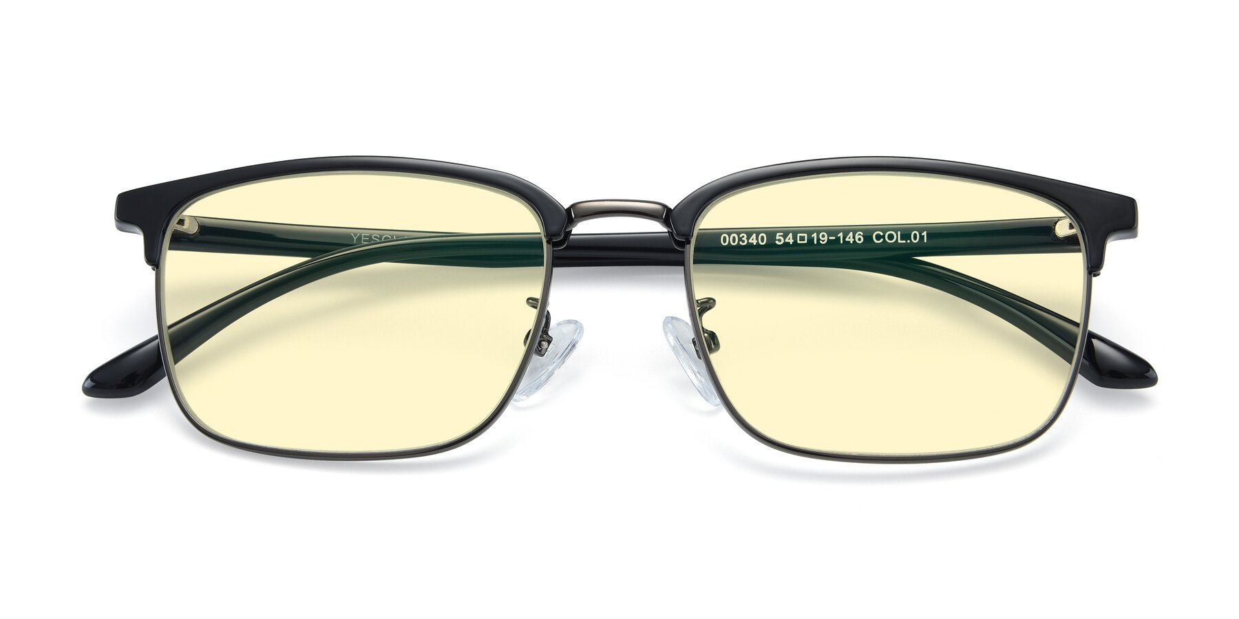 Folded Front of 00340 in Black-Gun with Light Yellow Tinted Lenses