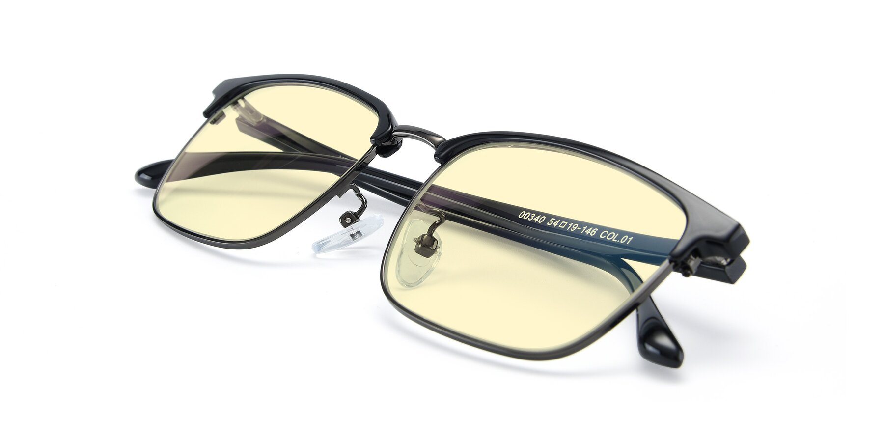 View of 00340 in Black-Gun with Light Yellow Tinted Lenses
