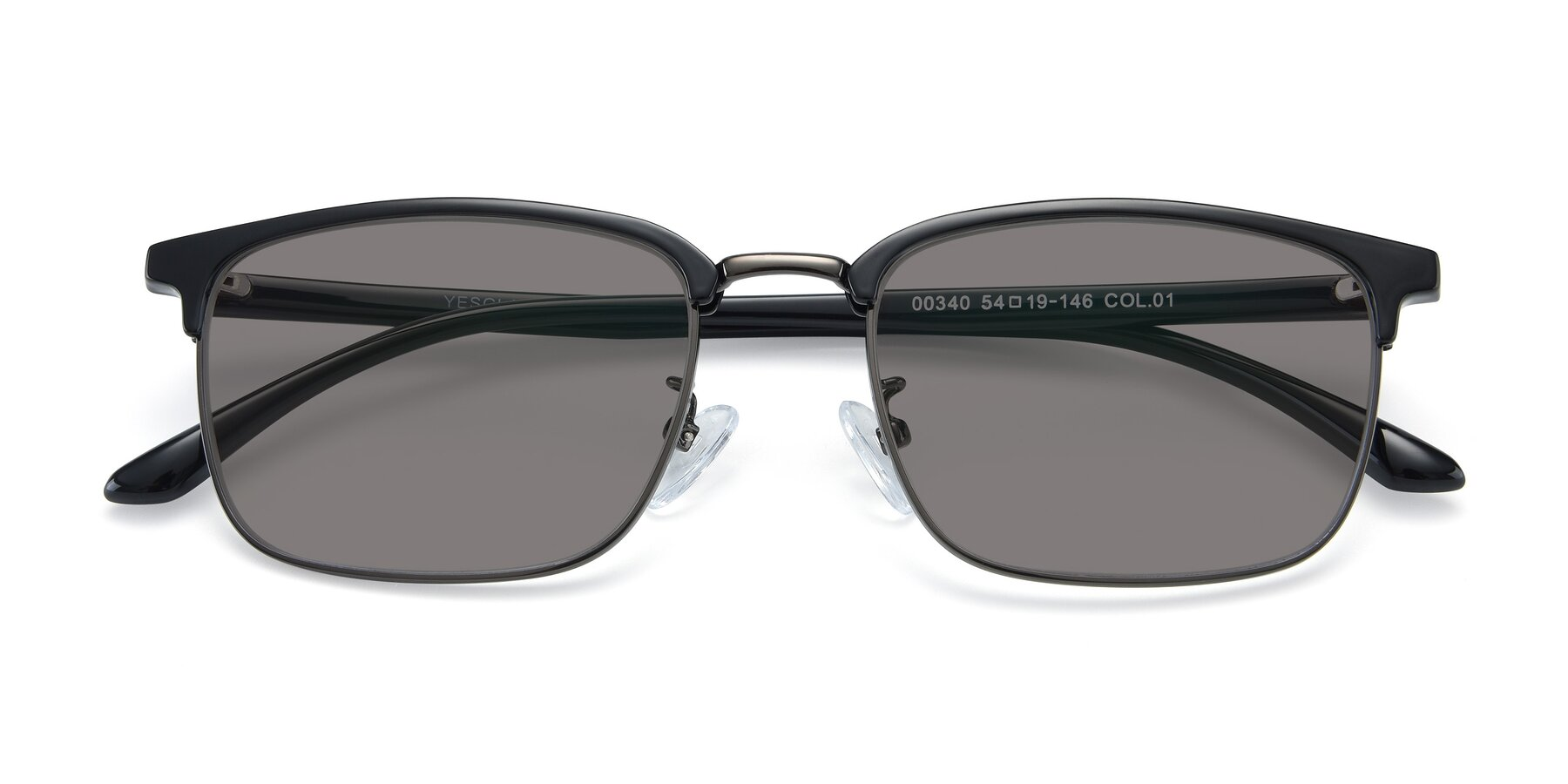 Folded Front of 00340 in Black-Gun with Medium Gray Tinted Lenses