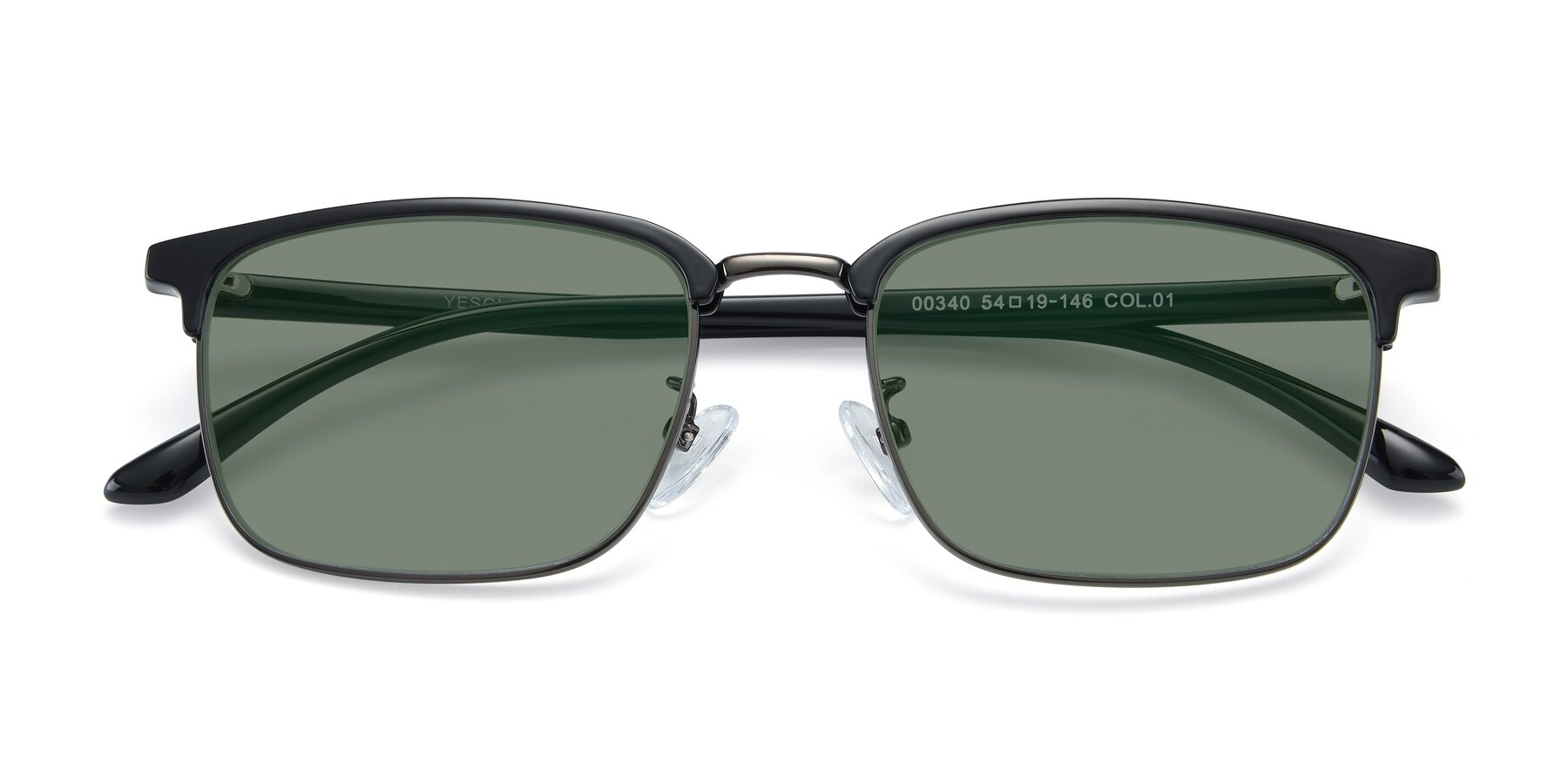 Folded Front of 00340 in Black-Gun with Medium Green Tinted Lenses