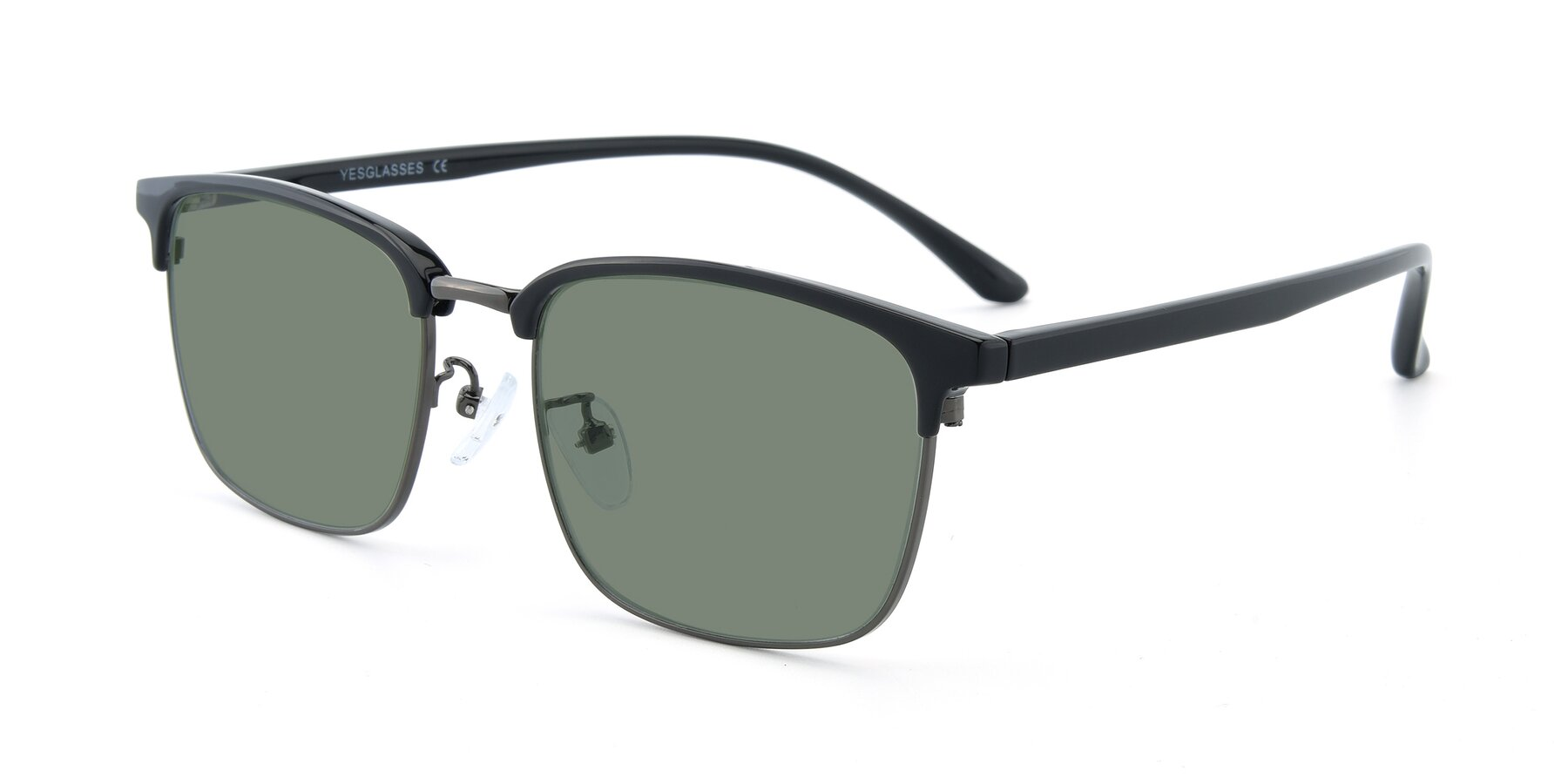 Angle of 00340 in Black-Gun with Medium Green Tinted Lenses