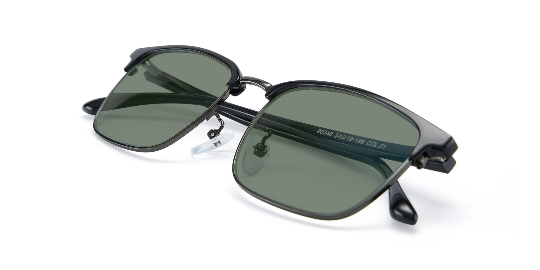 View of 00340 in Black-Gun with Medium Green Tinted Lenses