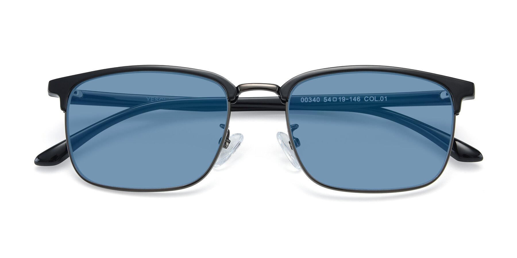 Folded Front of 00340 in Black-Gun with Medium Blue Tinted Lenses