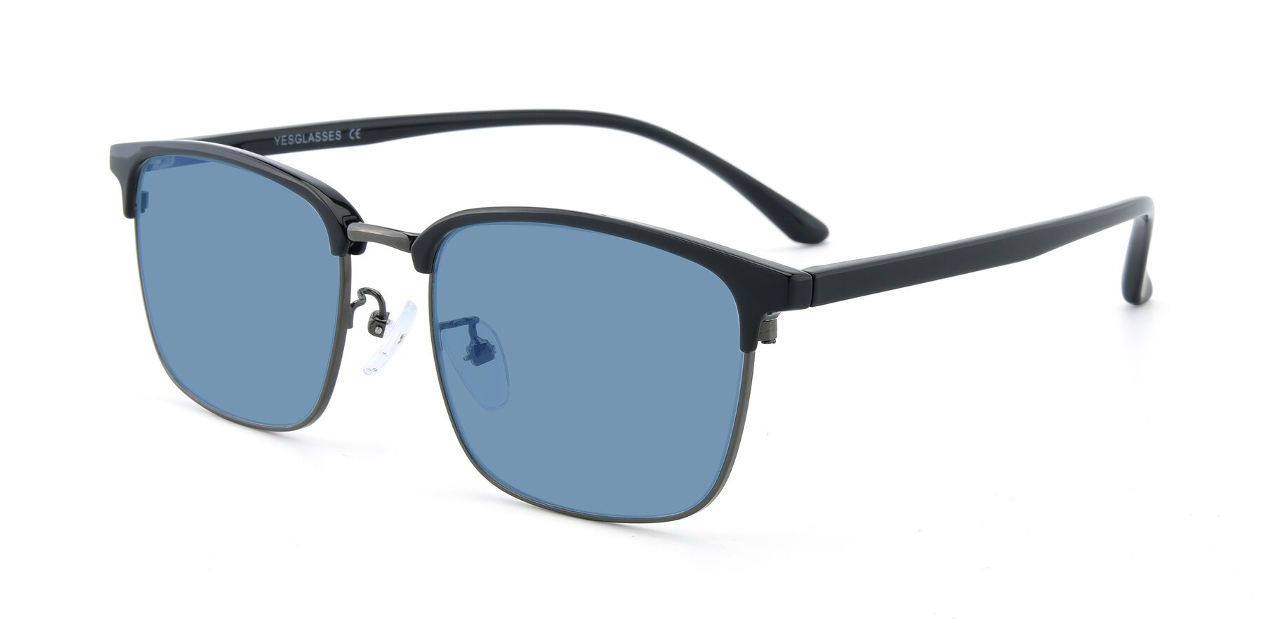 Angle of 00340 in Black-Gun with Medium Blue Tinted Lenses