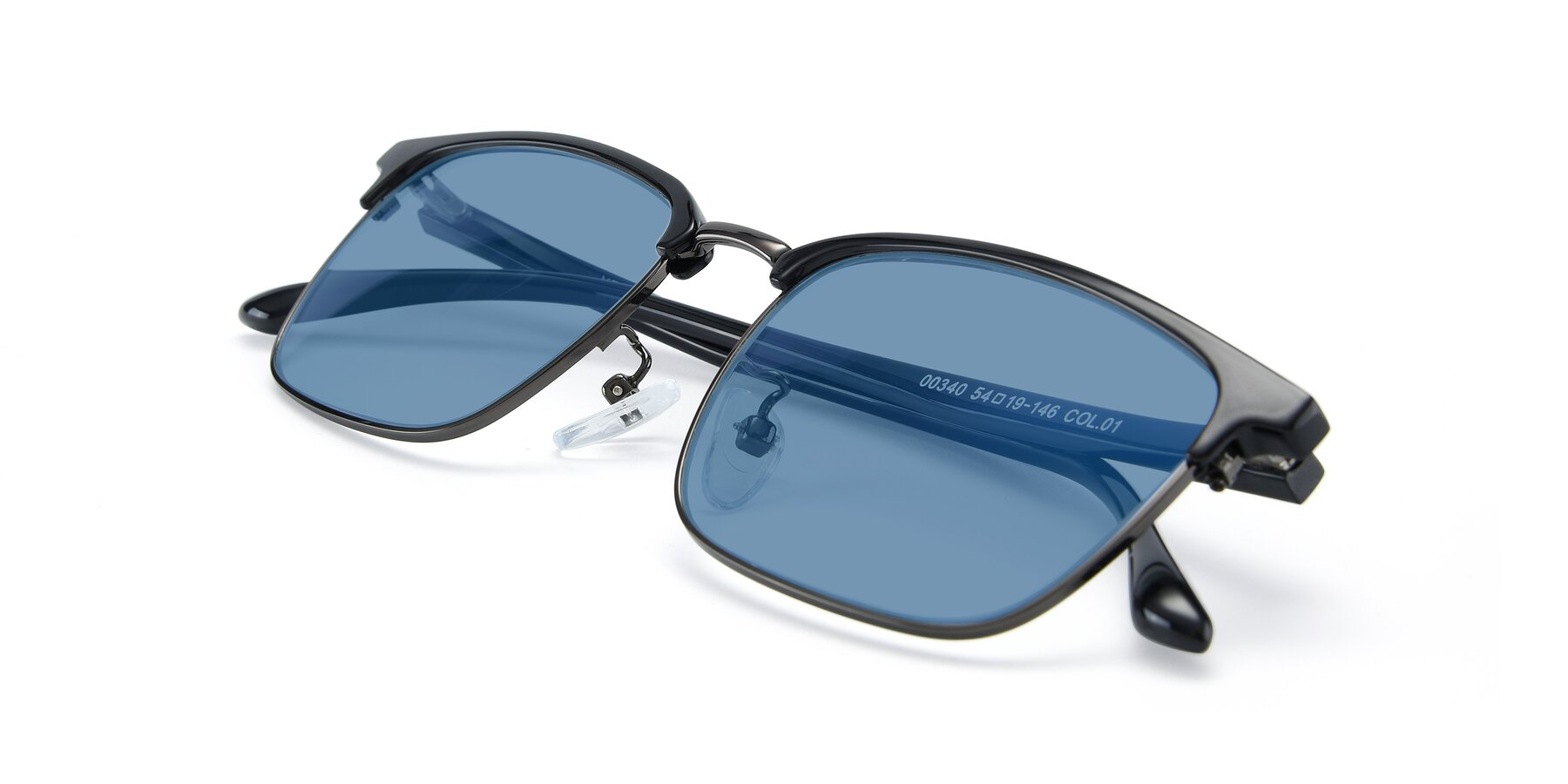 View of 00340 in Black-Gun with Medium Blue Tinted Lenses