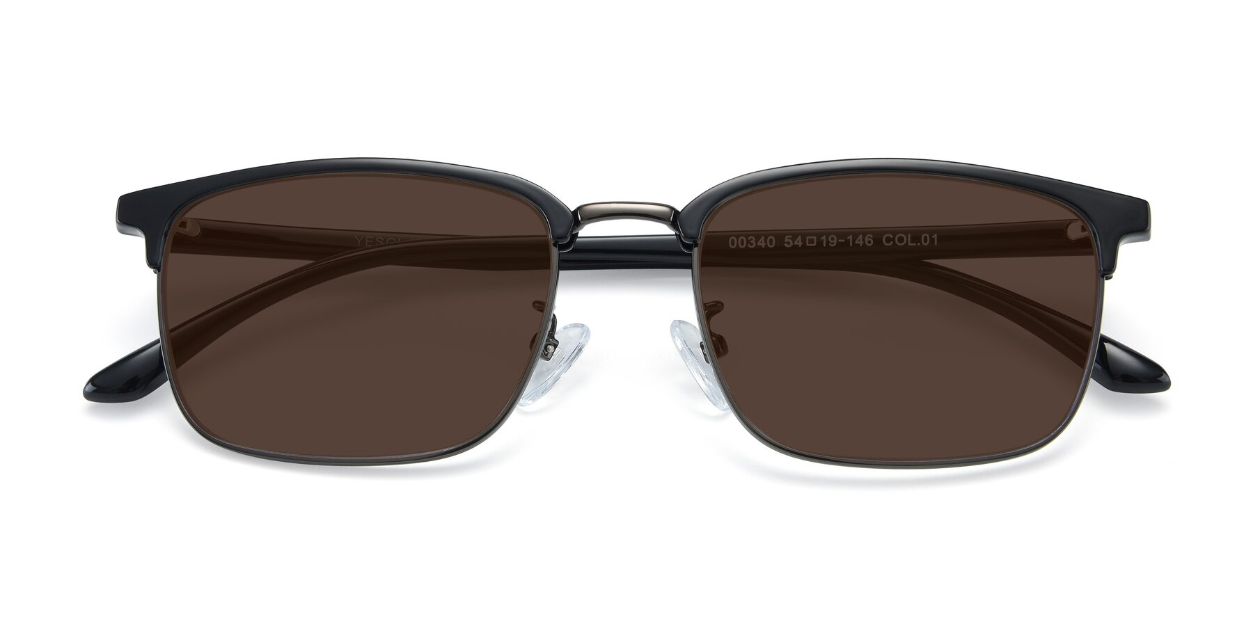 Folded Front of 00340 in Black-Gun with Brown Tinted Lenses