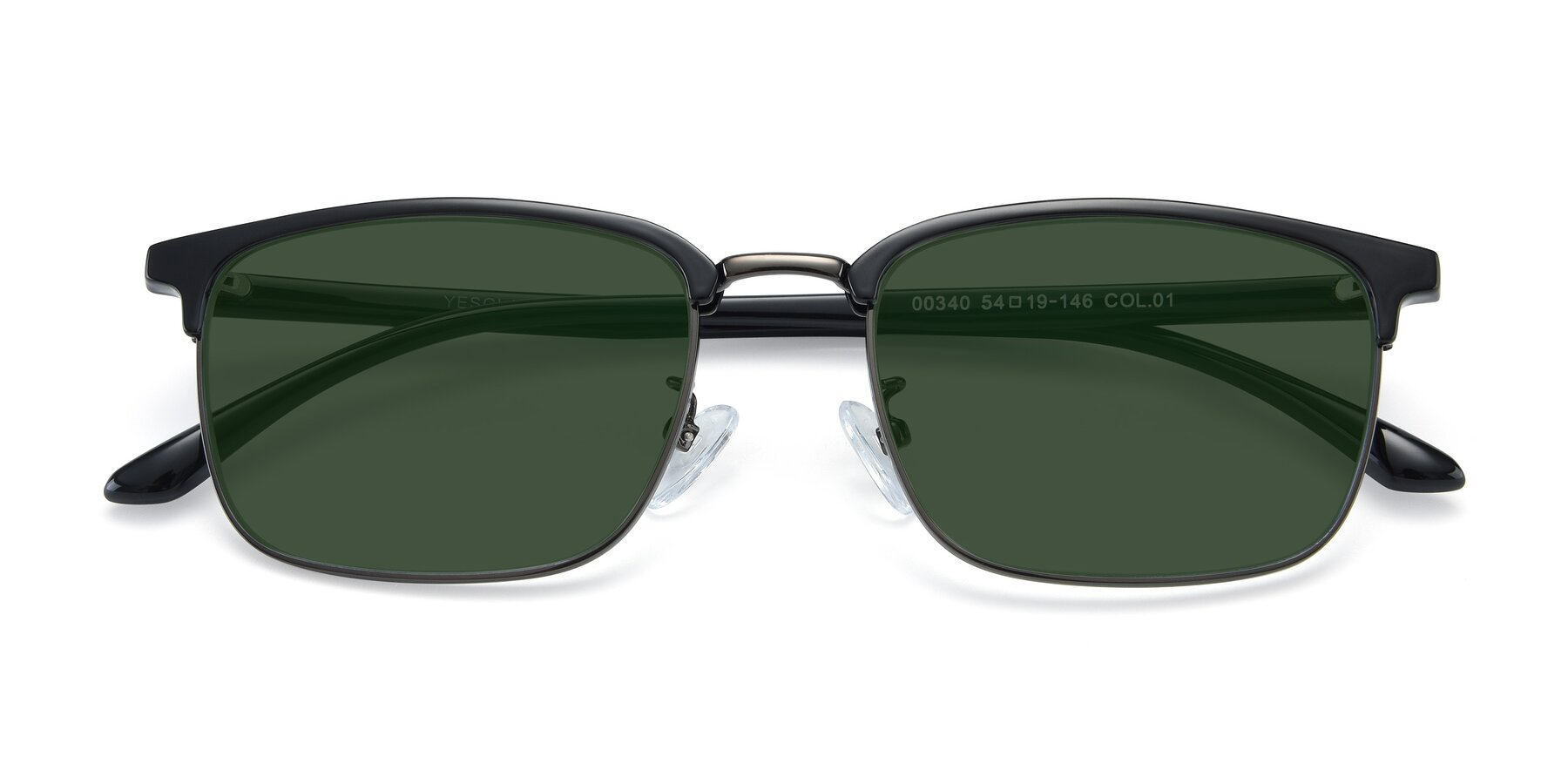 Folded Front of 00340 in Black-Gun with Green Tinted Lenses