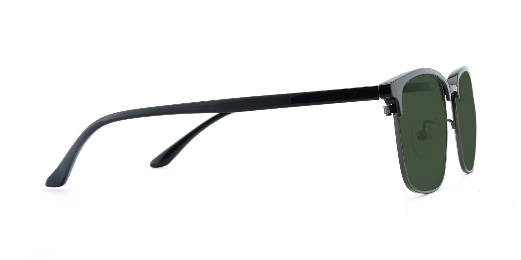 Side of 00340 in Black-Gun with Green Tinted Lenses
