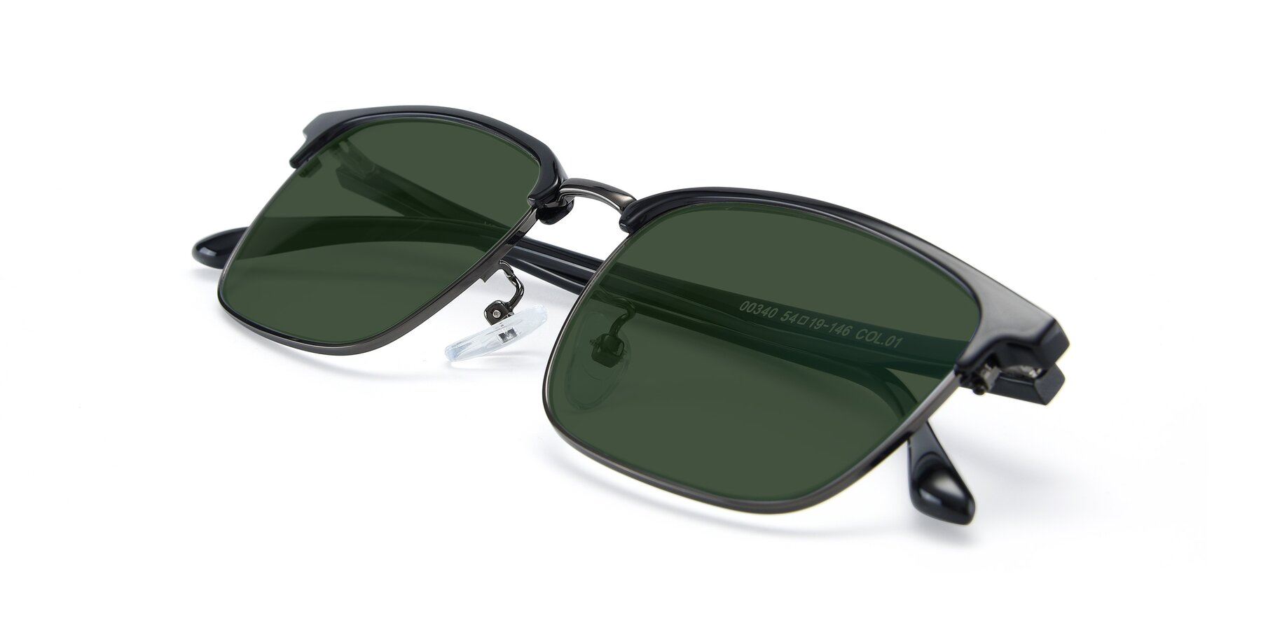 View of 00340 in Black-Gun with Green Tinted Lenses
