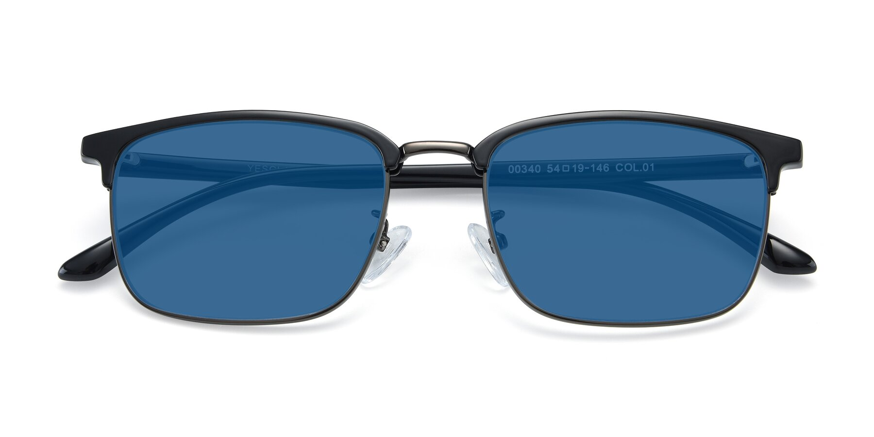 Folded Front of 00340 in Black-Gun with Blue Tinted Lenses