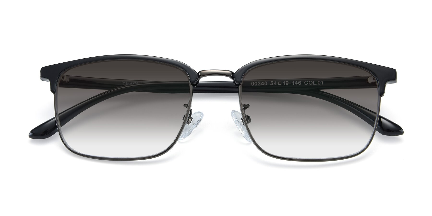 Folded Front of 00340 in Black-Gun with Gray Gradient Lenses
