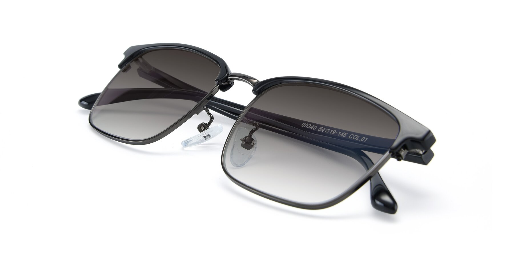 View of 00340 in Black-Gun with Gray Gradient Lenses