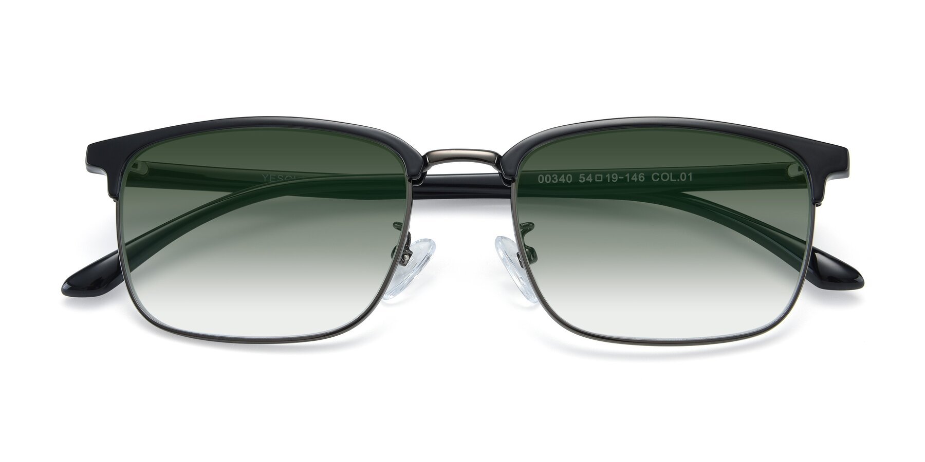 Folded Front of 00340 in Black-Gun with Green Gradient Lenses