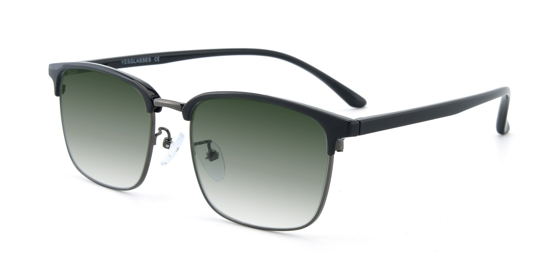 Angle of 00340 in Black-Gun with Green Gradient Lenses