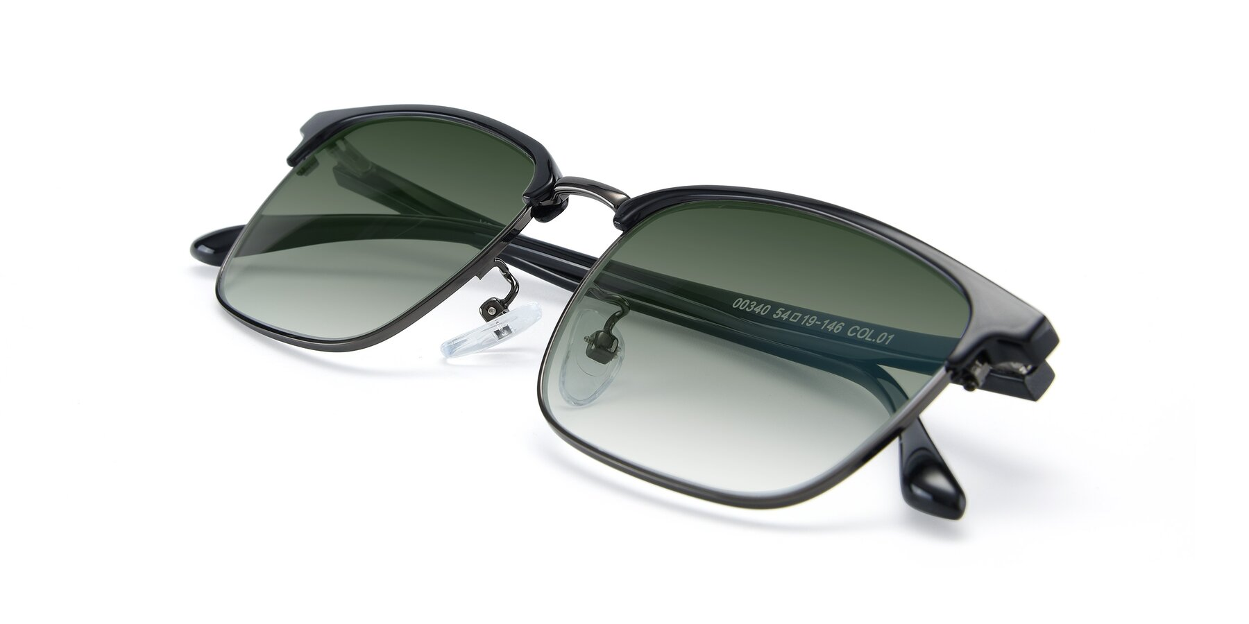View of 00340 in Black-Gun with Green Gradient Lenses