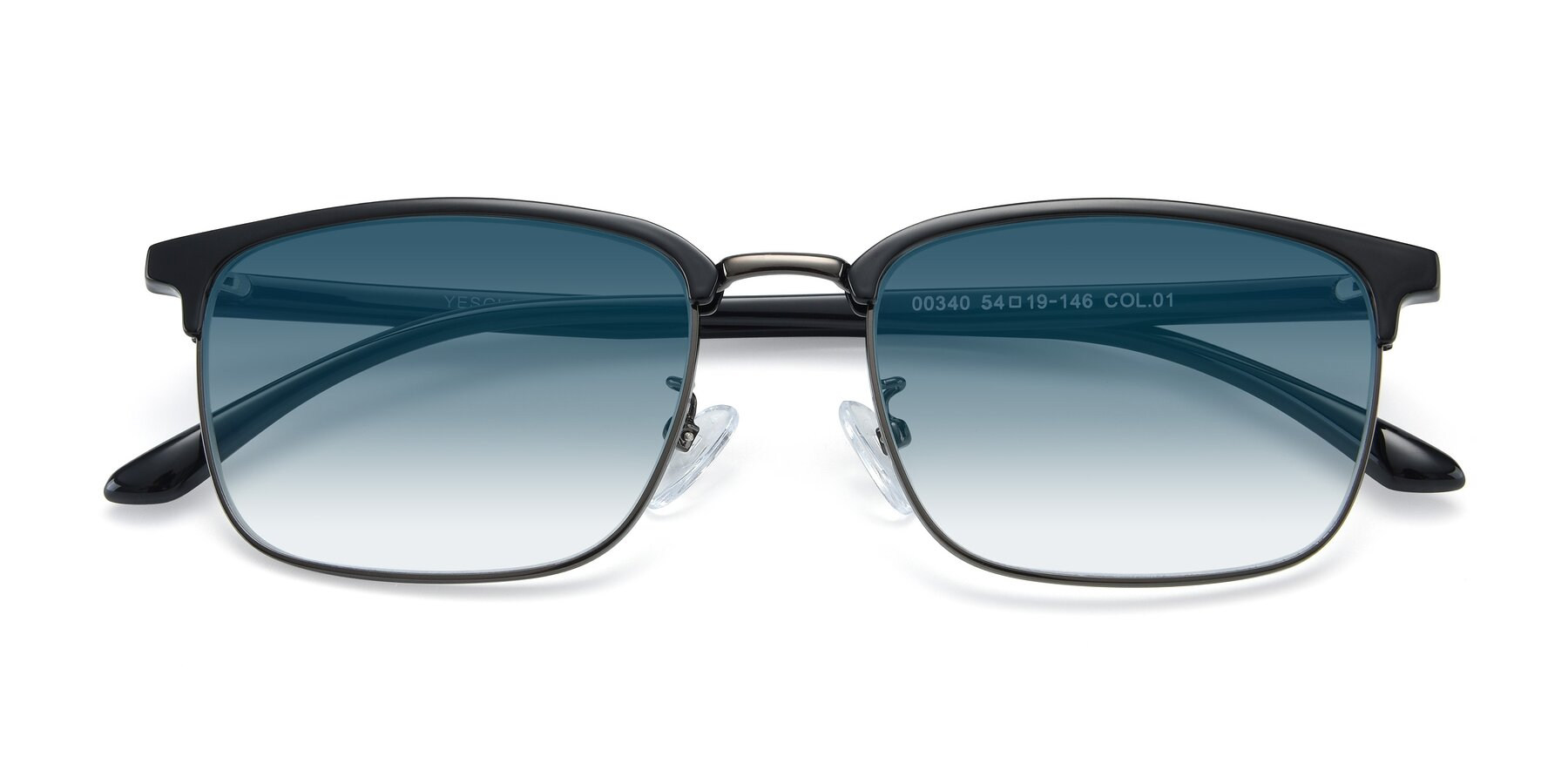 Folded Front of 00340 in Black-Gun with Blue Gradient Lenses
