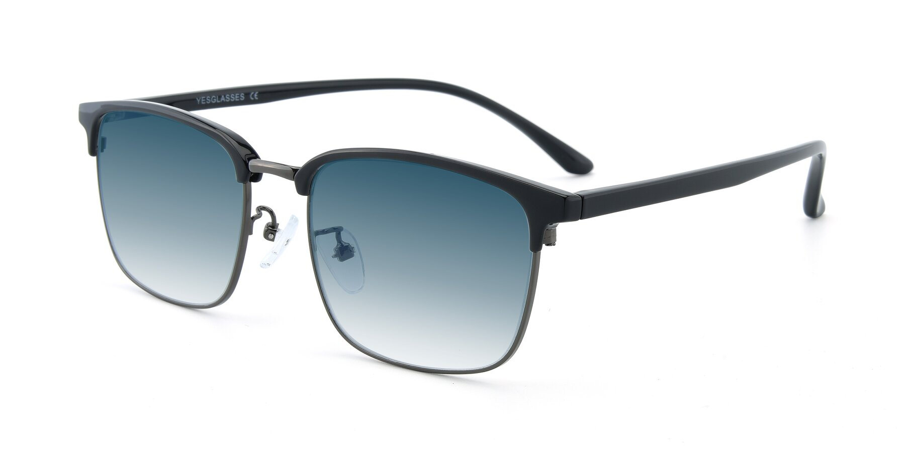 Angle of 00340 in Black-Gun with Blue Gradient Lenses