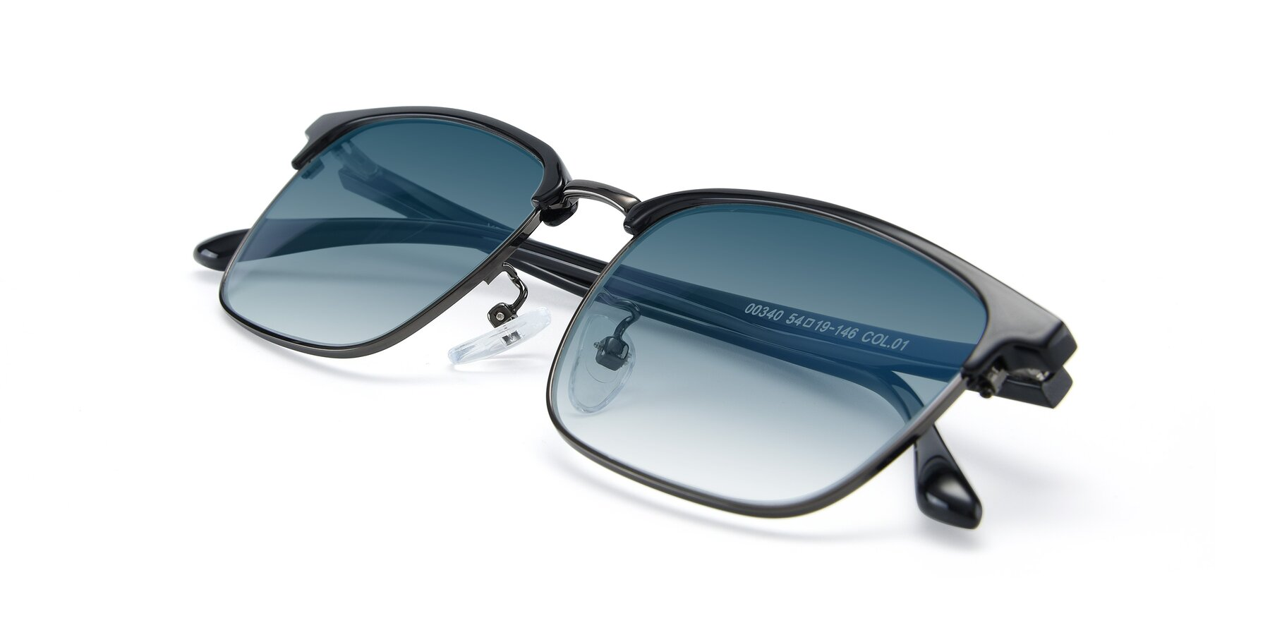 View of 00340 in Black-Gun with Blue Gradient Lenses