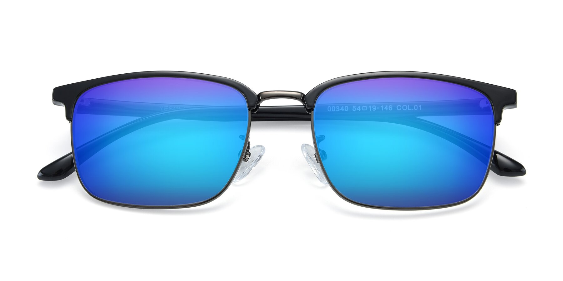 Folded Front of 00340 in Black-Gun with Blue Mirrored Lenses