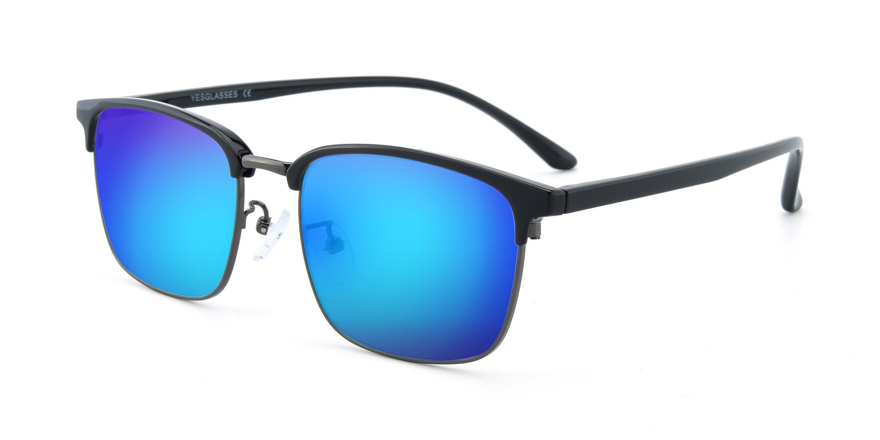 Angle of 00340 in Black-Gun with Blue Mirrored Lenses