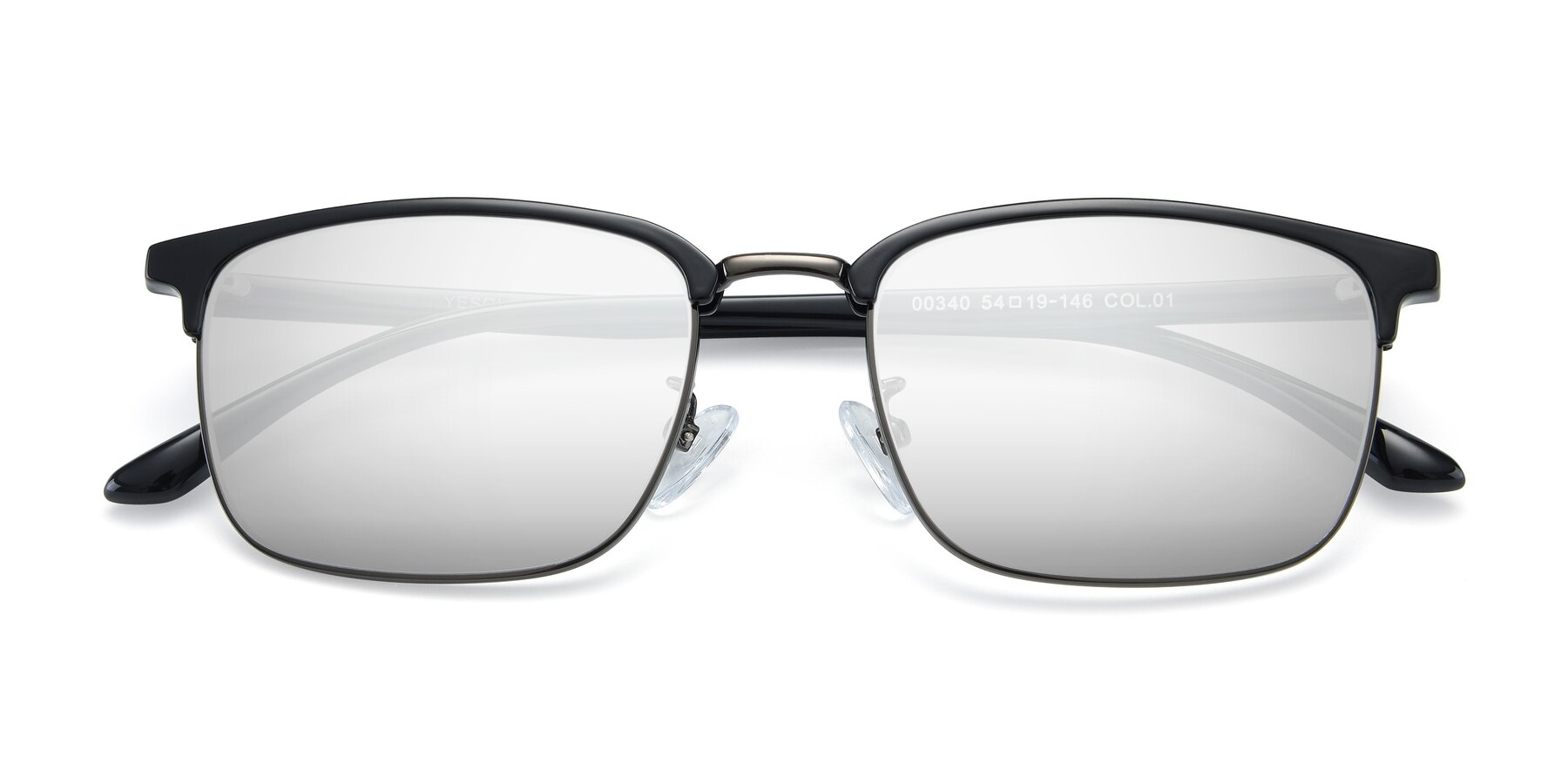 Folded Front of 00340 in Black-Gun with Silver Mirrored Lenses
