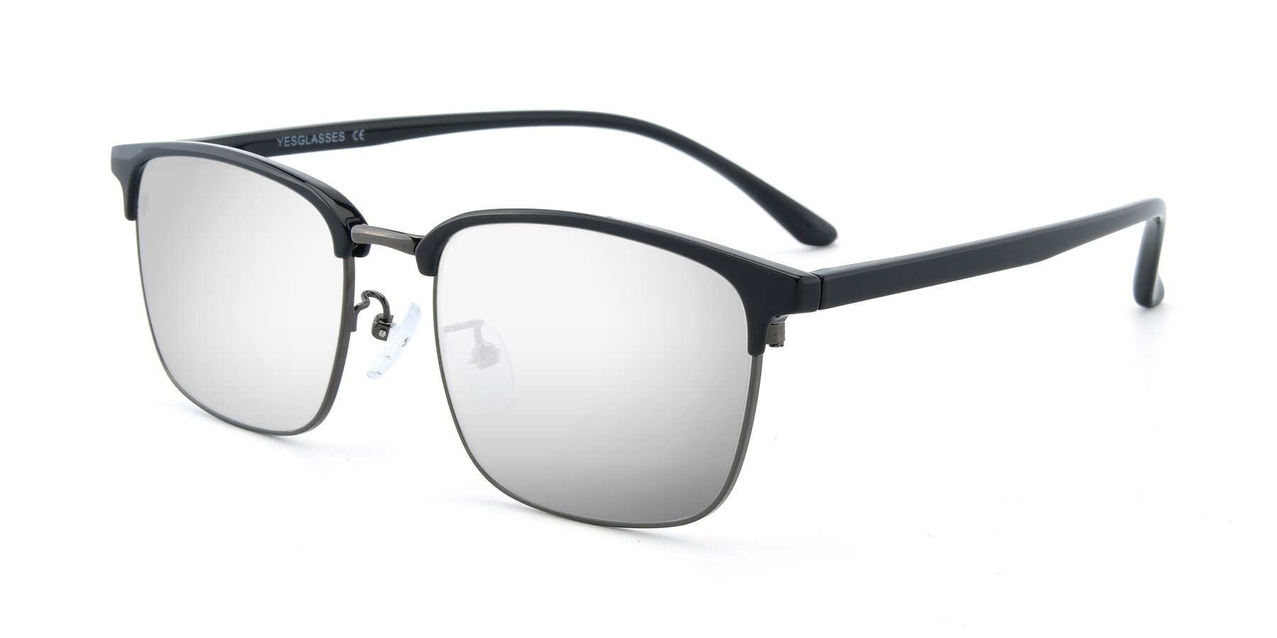 Angle of 00340 in Black-Gun with Silver Mirrored Lenses