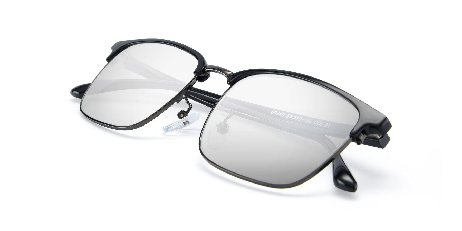 View of 00340 in Black-Gun with Silver Mirrored Lenses