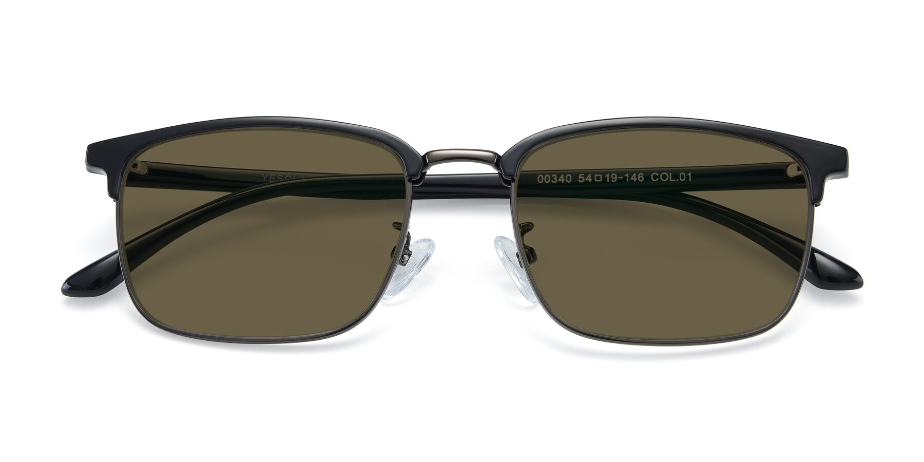 Folded Front of 00340 in Black-Gun with Brown Polarized Lenses