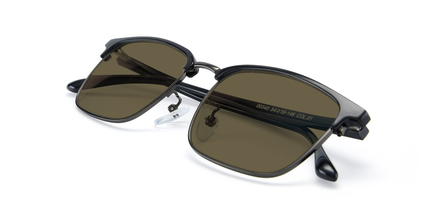 View of 00340 in Black-Gun with Brown Polarized Lenses