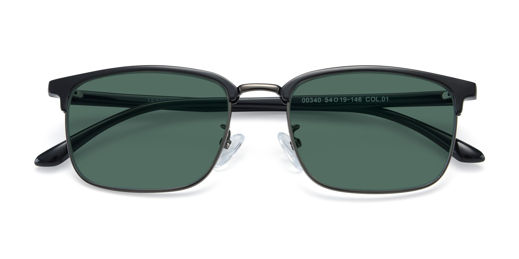 Folded Front of 00340 in Black-Gun with Green Polarized Lenses