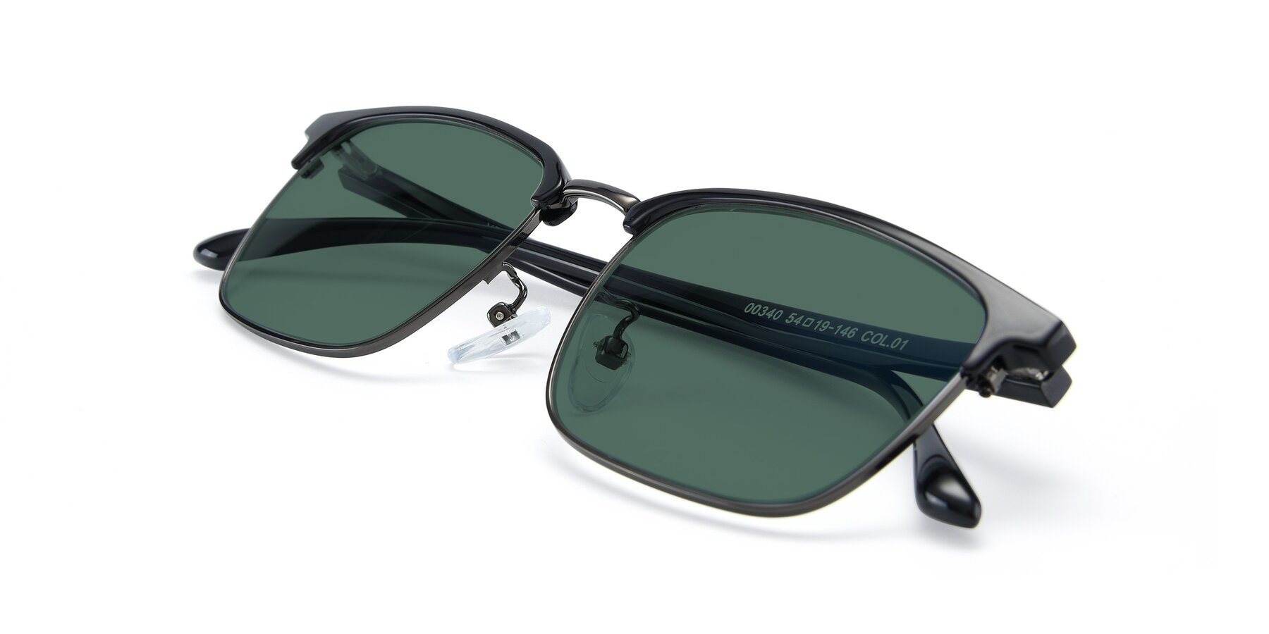View of 00340 in Black-Gun with Green Polarized Lenses