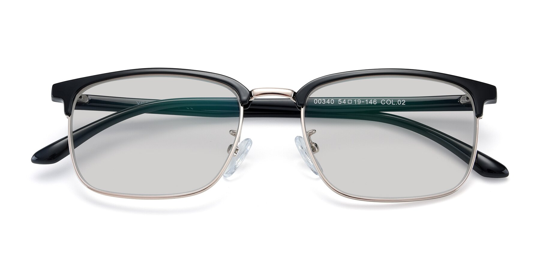 Folded Front of 00340 in Black-Gold with Light Gray Tinted Lenses