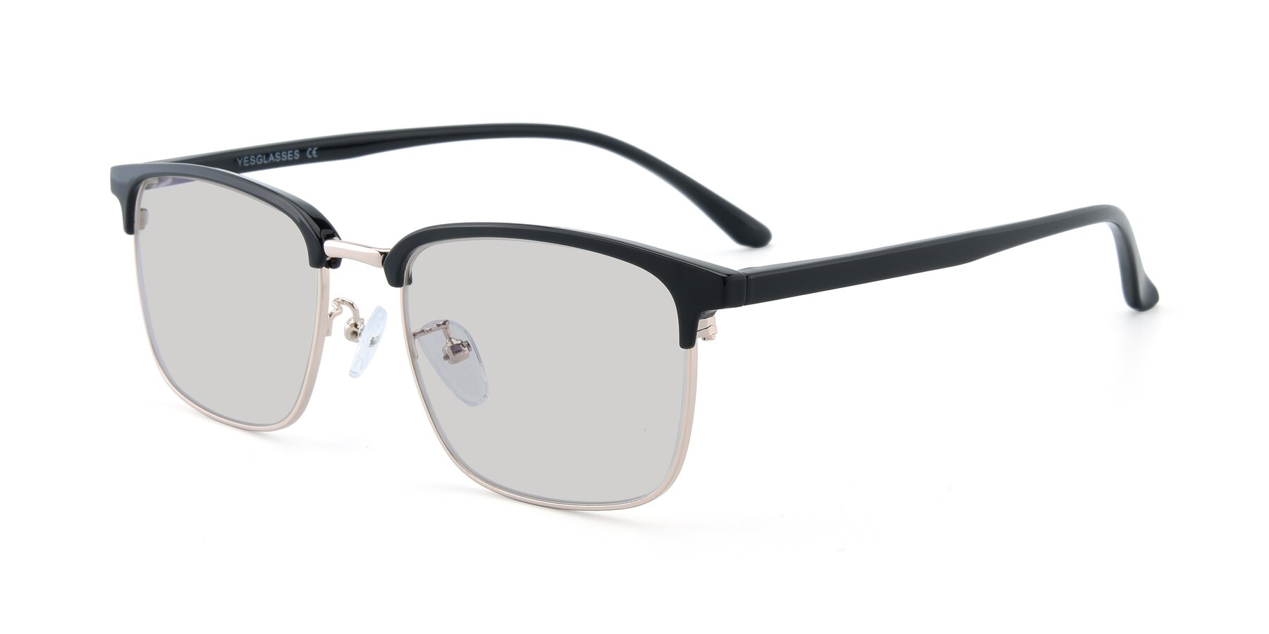 Angle of 00340 in Black-Gold with Light Gray Tinted Lenses