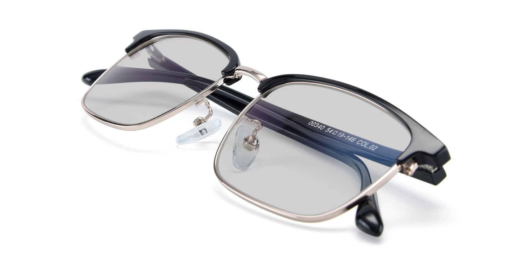 View of 00340 in Black-Gold with Light Gray Tinted Lenses