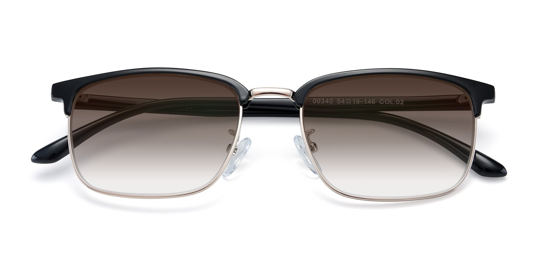 Folded Front of 00340 in Black-Gold with Brown Gradient Lenses
