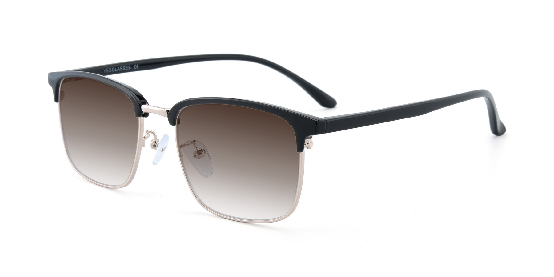 Angle of 00340 in Black-Gold with Brown Gradient Lenses
