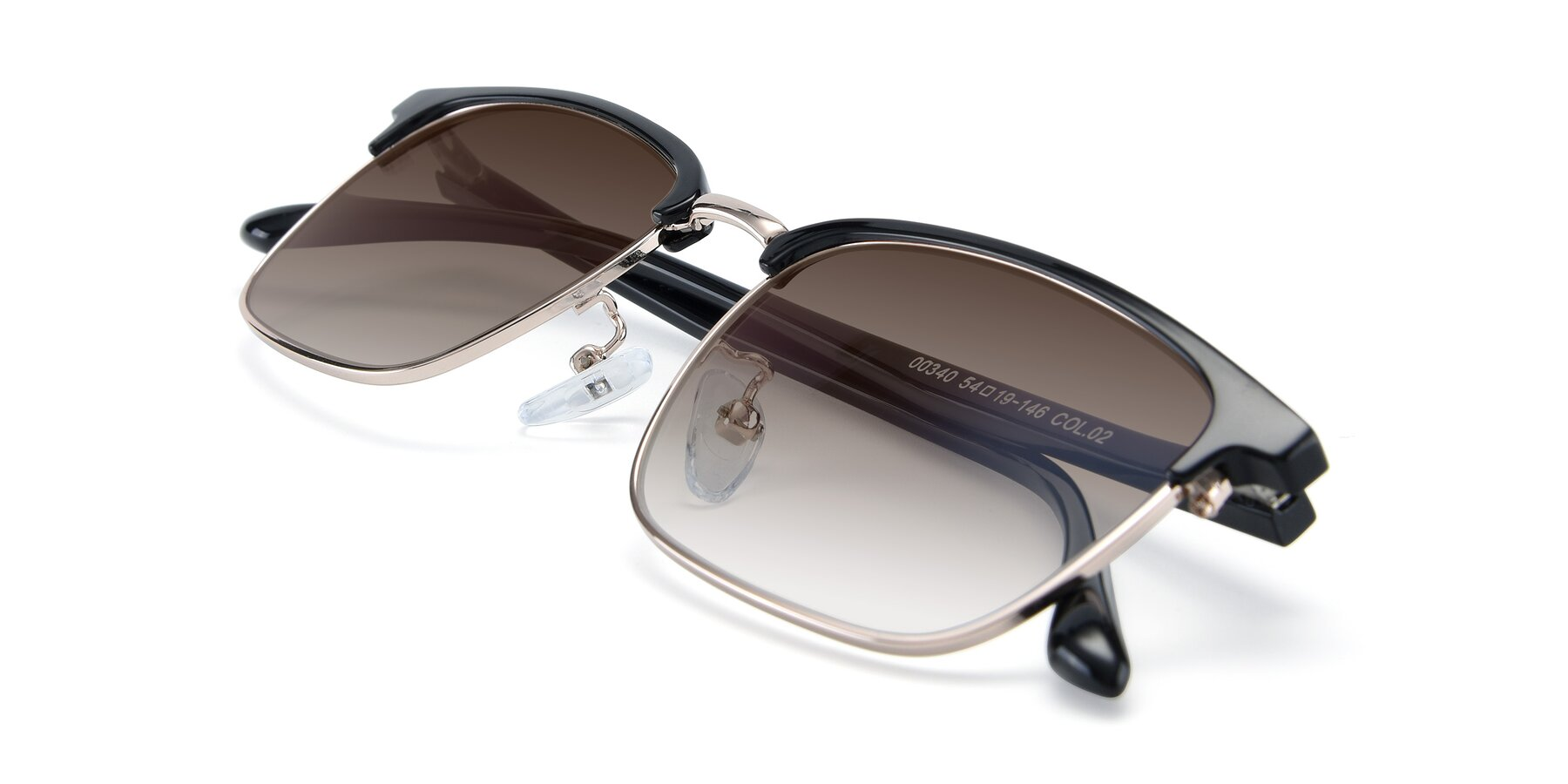 View of 00340 in Black-Gold with Brown Gradient Lenses