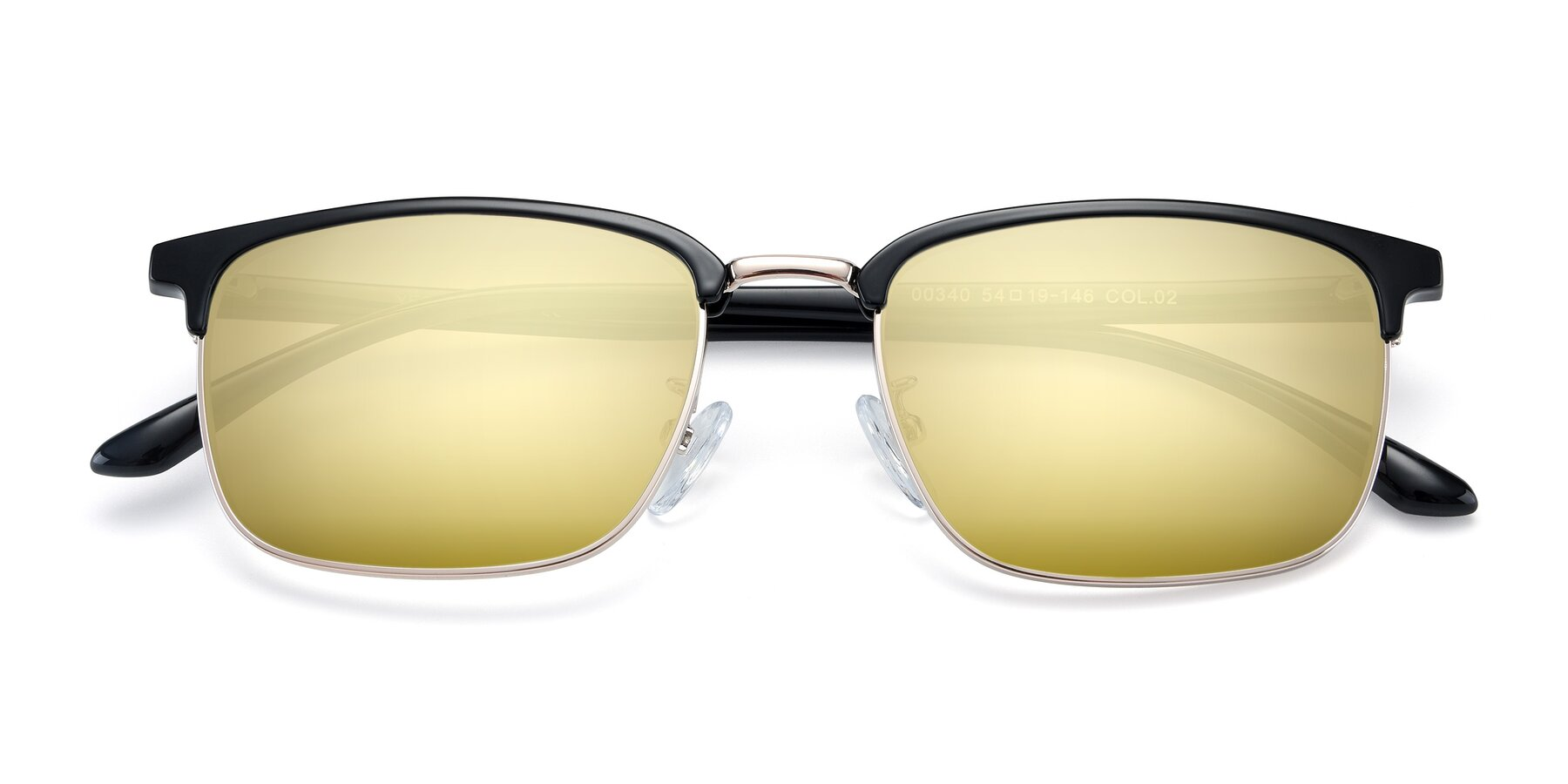 Folded Front of 00340 in Black-Gold with Gold Mirrored Lenses