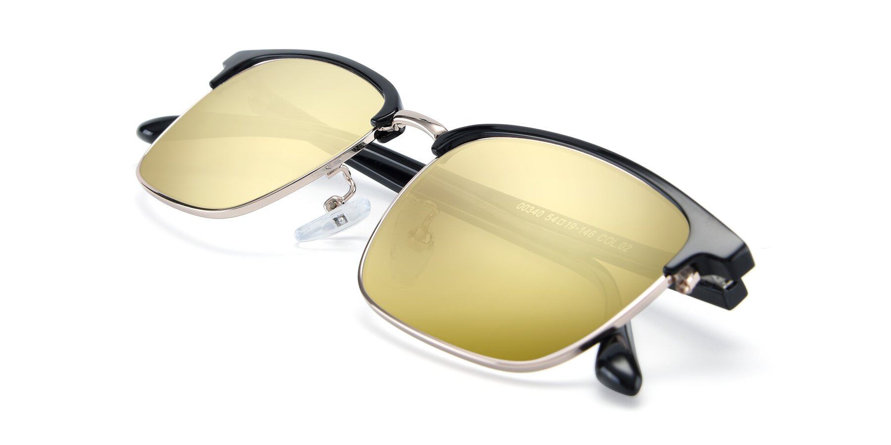 View of 00340 in Black-Gold with Gold Mirrored Lenses