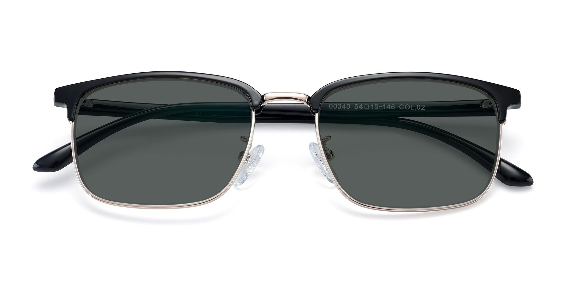 Folded Front of 00340 in Black-Gold with Gray Polarized Lenses